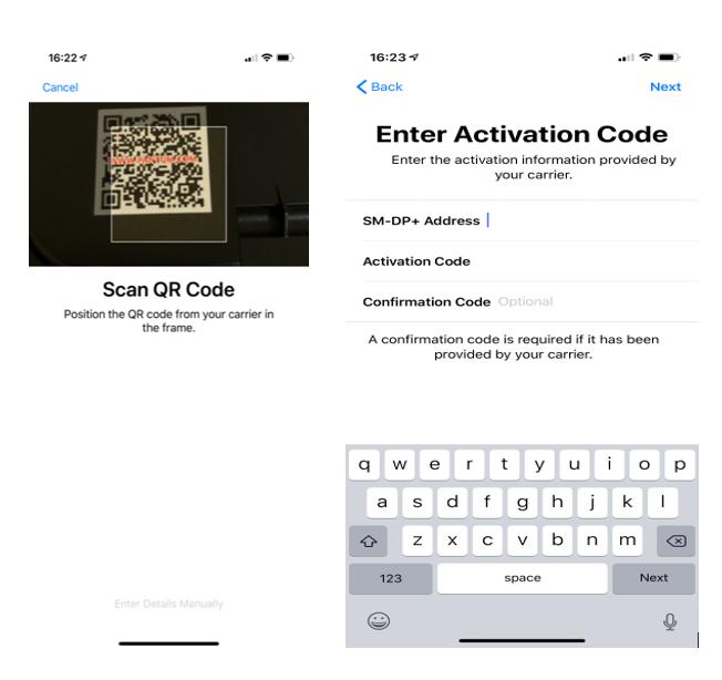 Screenshot showing the activation of an eSIM QR code