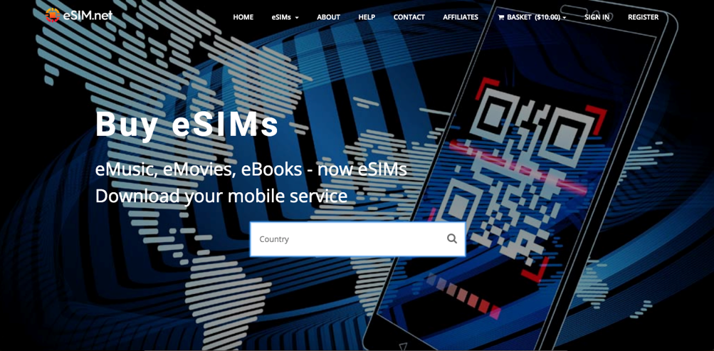 Home page and search feature of eSIM.net, helping users find eSIM for Ireland or the United Kingdom