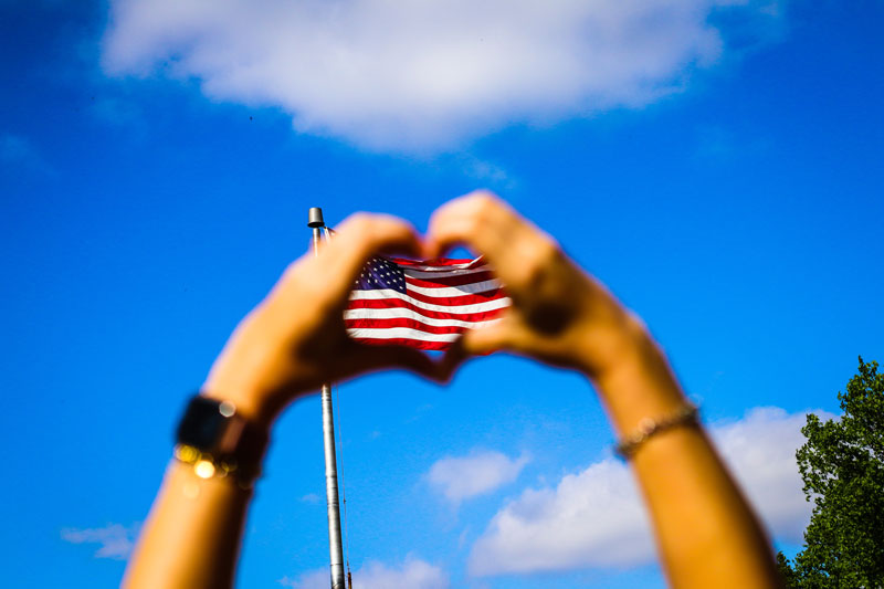 heart around the united states of america flag