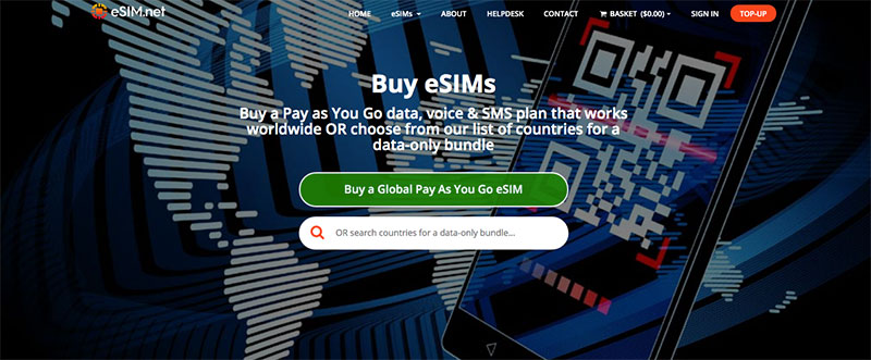 home page for eSIM.net, selling eSIMs for the USA