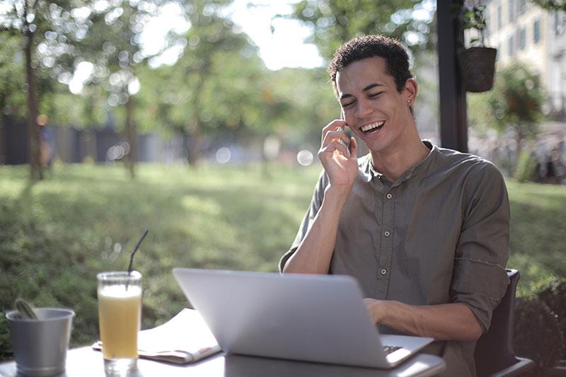 man using esim phone