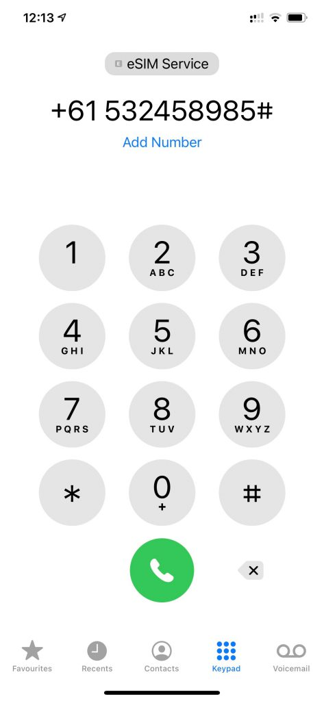 Screenshot of dialling pad showing number with hashtag
